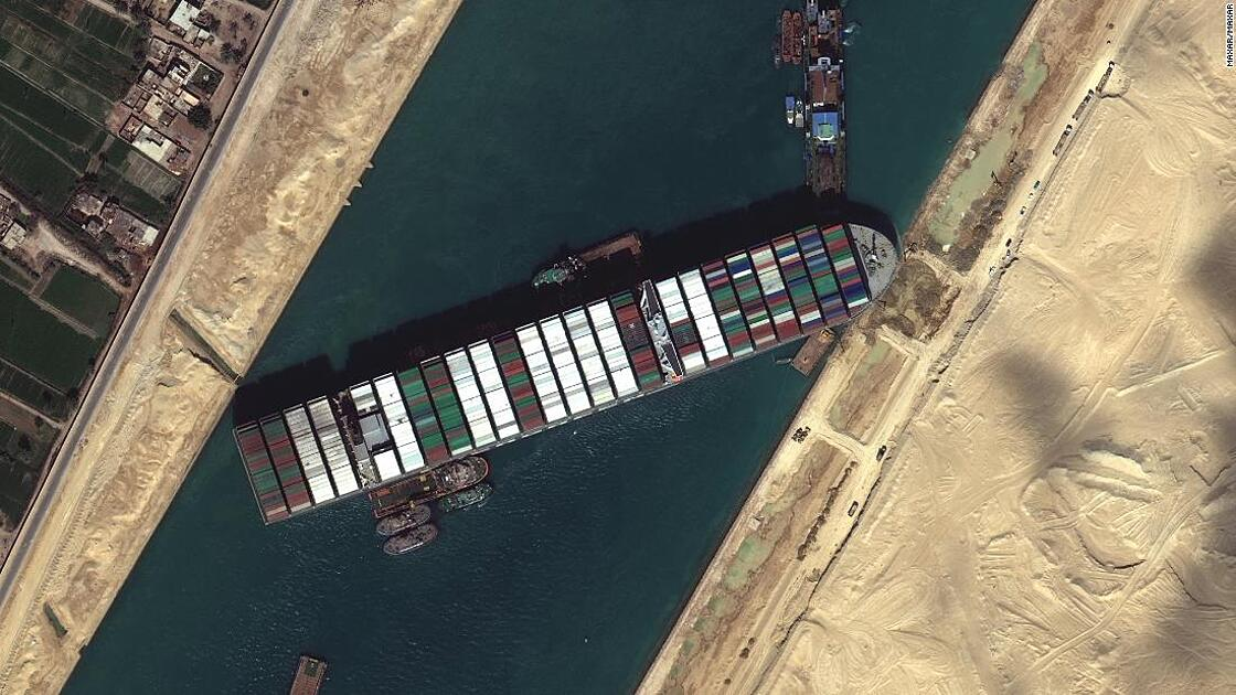 A satellite image of the Ever Given blocking the Suez canal